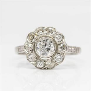 Handmade Platinum Old Mine Diamond Halo Engagement Ring