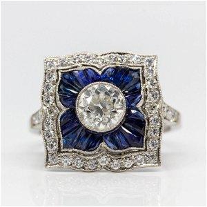Platinum Old Mine Cut Diamond and French Cut Sapphire