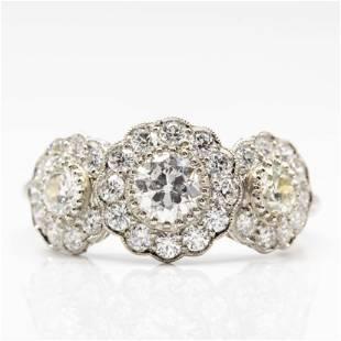 Handmade Platinum Three-Stone Diamond Ring