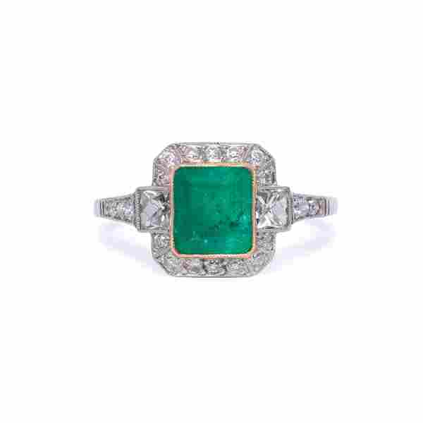 Platinum Colombian Emerald and Diamond Engagement Ring