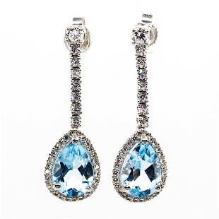 Modern 18K Gold Diamonds and Aquamarines Earrings