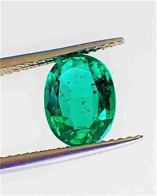 No Oil Emerald 7 x 9 mm Certified - 1.77 ct