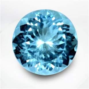 36.48 Cts Certified Round Blue Aquamarine