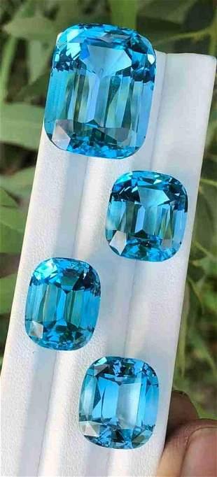 144 Carats Natural Swiss Blue Topaz Cushion Cut