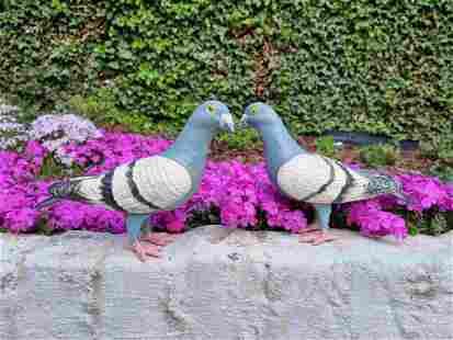 Set of 2 cast iron pigeons - Garden ornaments