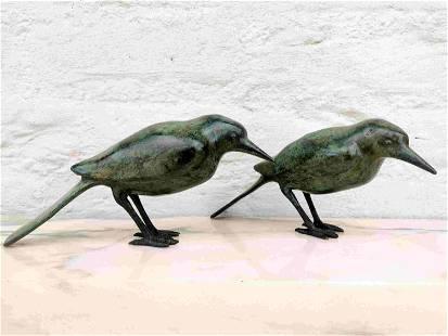 Pair of bronze birds - Bird ornaments - Easter