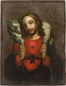 Rare Icon Christ as a good shepherd