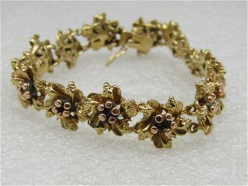 """Vintage 14kt Heavy Floral Bracelet, 6.75"""", Appx."""
