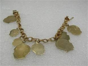 Vintage 14kt 7mm Charm Bracelet with Children Charms,