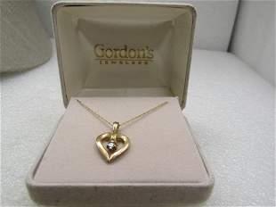 """Vintage 10kt Diamond Heart Necklace, 18"""","""