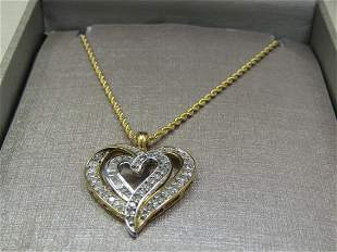 """10kt Double Diamond Heart Necklace, 20"""", Two-Tone, 1"""