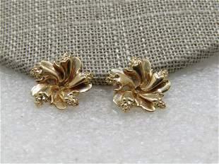 Vintage 14kt Earring Jackets, Blossoms, Signed