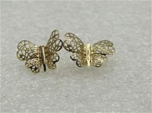 Vintage 14kt Filigree Butterfly Pierced Earrings,