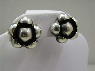 Vintage Sterling Chunky Blossom Earrings, Clip, Mexico