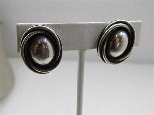 Vintage Sterling Mexican Oval Clip Earrings, Signed