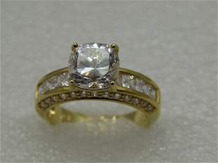 Sterling Gold Plated 9mm CZ Engagement Ring, Sz. 10.5,