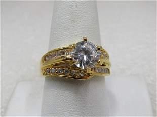 Sterling Gold Over CZ Wedding Engagement Set, Single