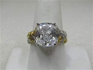 Sterling Silver Large CZ Crisscross Band Ring, Sz.