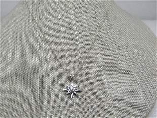 """Vintage 14kt Diamond Starburst Necklace, 18"""" 1.71 gr."""