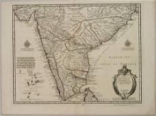 1745 Delisle Map of India -- Carte des Cotes de Malabar