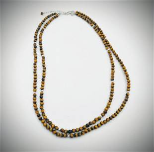 925 SS Double Stranded Beaded Tiger's Eyes Necklace
