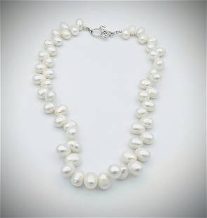 925 SS Oval Pearl Necklace