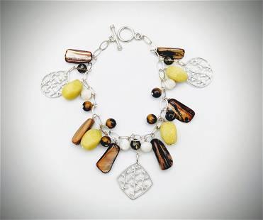 Bracelet w Peridot Jasper, Smoky Glass Beads, Tiger's