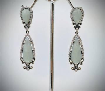 Double Drop Vintage Style Earrings w Jade & CZs