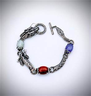 Dragon Bracelet w Jade, Jasper, Violet Jade and CZs