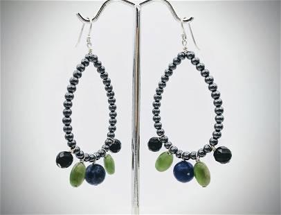 Earrings w Blue Aventurine, Jade, Silver Glass Beads &