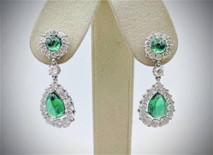 Emerald & Diamond Quality Cubic Zirconia Earrings