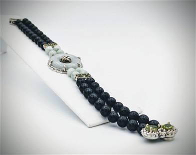 Jade Bracelet w Black Onyx Beads and Peridot
