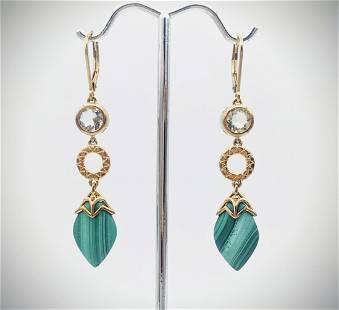 Malachite & Cubic Zirconia Earrings