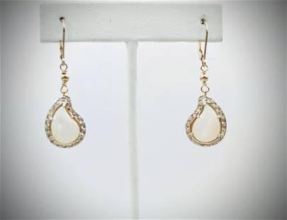 Mother of Pearl Earrings w CZs