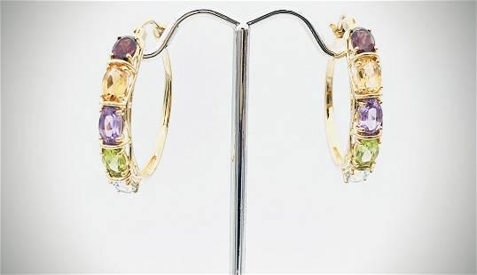 Multicolored Earrings w Garnet, Citrine, Amethyst,