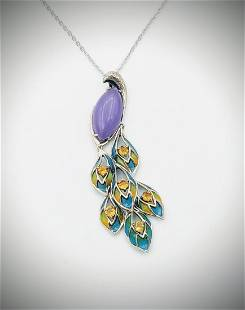 Necklace & Peacock Pendant w Violet Jade, Citrine, Blue