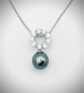 Necklace & Pendant w Cubic Zirconia & Peacock Pearl