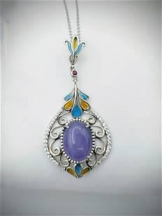 Necklace & Pendant w Violet Jade, Ruby, CZ & Colored