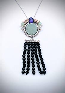 Necklace and Dragon Pendant w Jade, Amethyst, CZ and