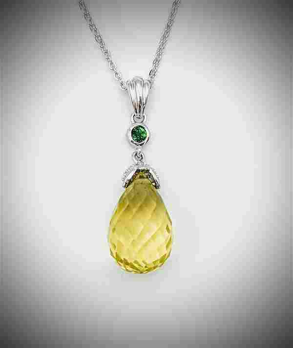 Necklace and Orthoclase Pendant w Diamond & Tsavorite