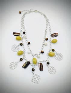 Necklace w Peridot Jasper, Smoky Glass Beads, Tiger's
