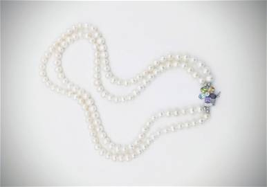 Sterling Silver Double Stranded Pearl Necklace w