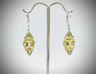 Sterling Silver Earrings w Orthoclase and Peridot