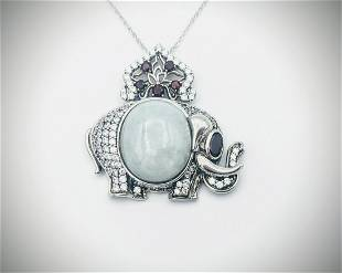 Sterling Silver Necklace & Elephant Pendant w Jade,