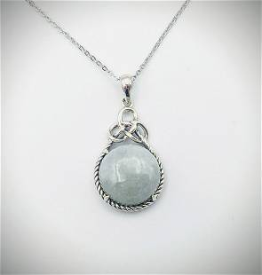 Sterling Silver Necklace & Jade w Celtic Knot Pendant