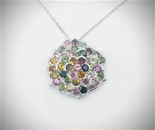 Sterling Silver Necklace & Multicolored Pendant w