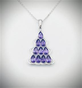 Sterling Silver Necklace w Amethyst Pendant