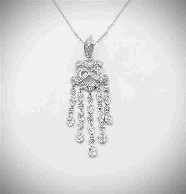 Sterling Silver Necklace w Baroque Style Diamond