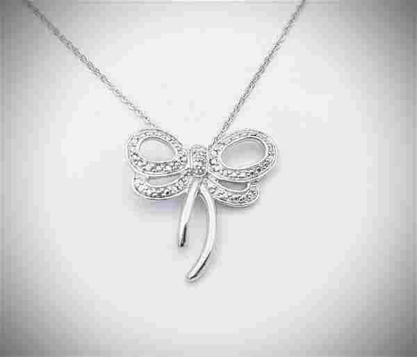 Sterling Silver Necklace w Butterfly Diamond Pendant
