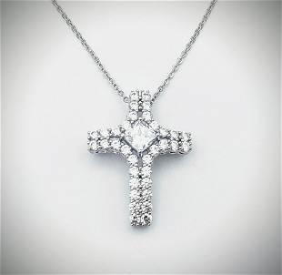 Sterling Silver Necklace w Cubic Zirconia Cross Pendant